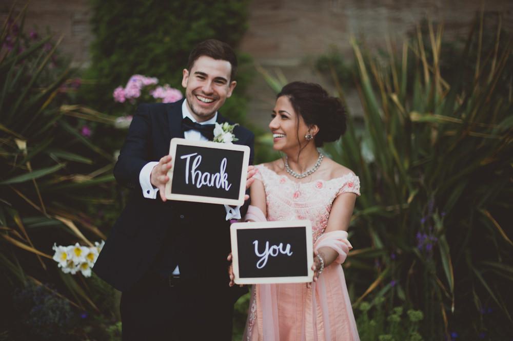 Thank You Sign Board Chalk Black Newton Hall Wedding Sasha Weddings
