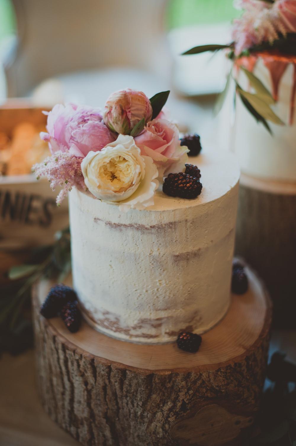 Semi Naked Cake Flowers Fruit Log Newton Hall Wedding Sasha Weddings