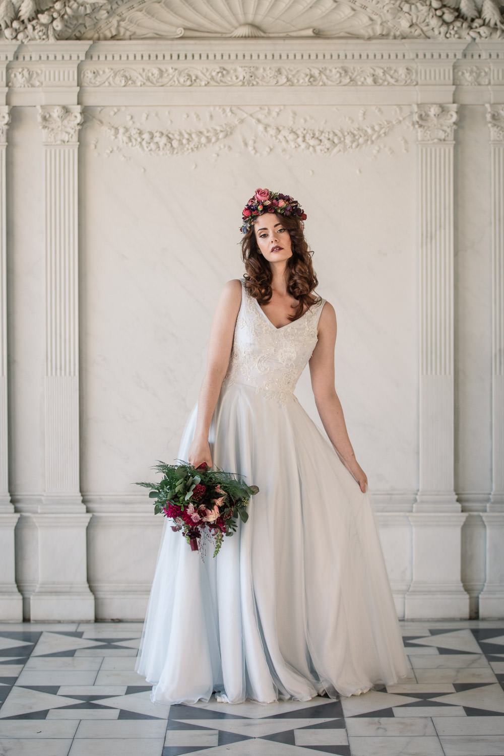 Dress Gown Bride Bridal Blue Silk Chiffon Tulle Skirt Lace Winter Luxe Wedding Ideas Becky Harley Photography