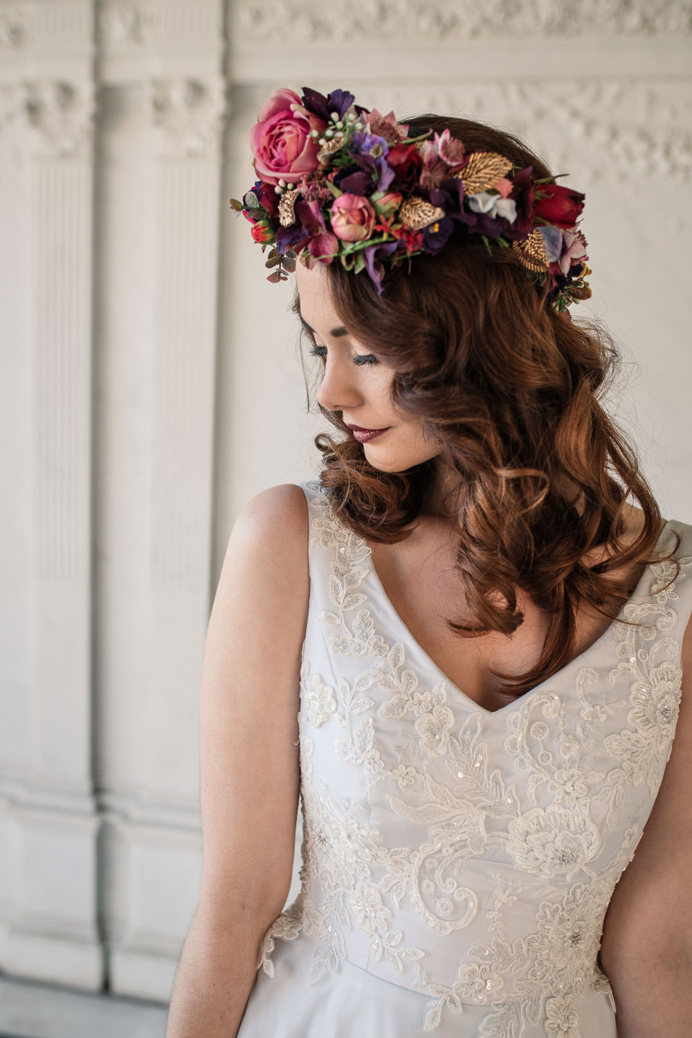 Bride Bridal Hair Waves Flower Crown Red Pink Winter Luxe Wedding Ideas Becky Harley Photography