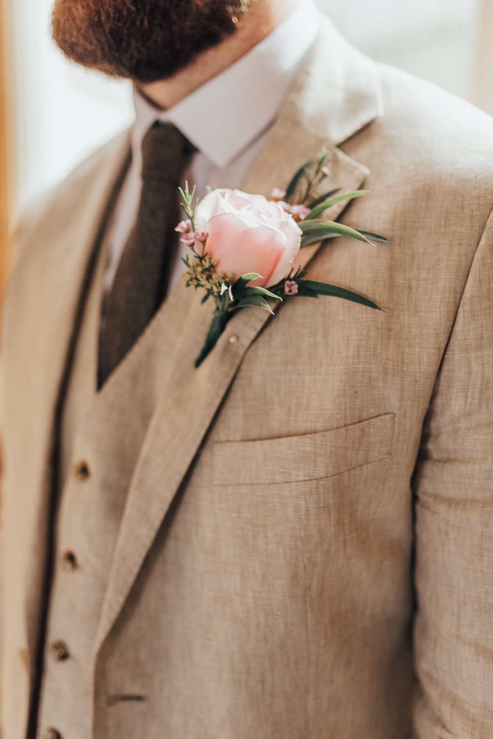 Groom Suit Pale Sand Linen Tweed Tie Pink Rose Buttonhole Loafers Beacon House Wedding Elopement Rebecca Carpenter Photography