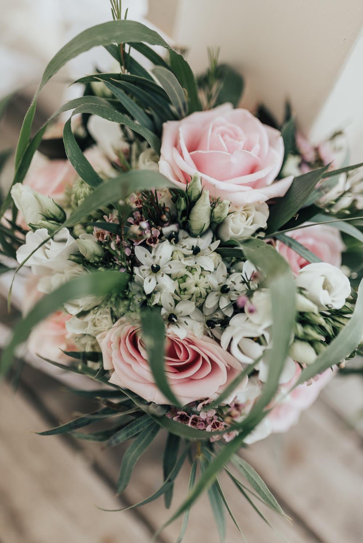 Bride Bridal Flowers Bouquet Pink Rose Wax Flower Greenery Foliage Beacon House Wedding Elopement Rebecca Carpenter Photography