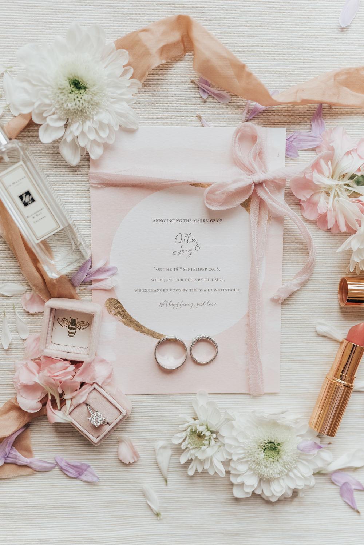 Stationery Invites Invitations Flat Lay Pink Pretty Gold Ribbon Beacon House Wedding Elopement Rebecca Carpenter Photography