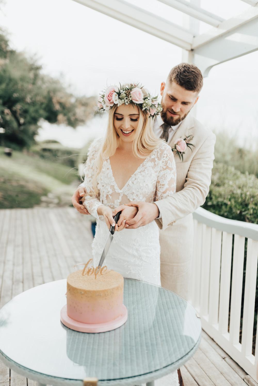 Pink Gold Ombre Cake Topper Beacon House Wedding Elopement Rebecca Carpenter Photography