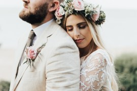 Bride Bridal Flower Crown Pink Rose Hair Loose Waves Make Up Beacon House Wedding Elopement Rebecca Carpenter Photography