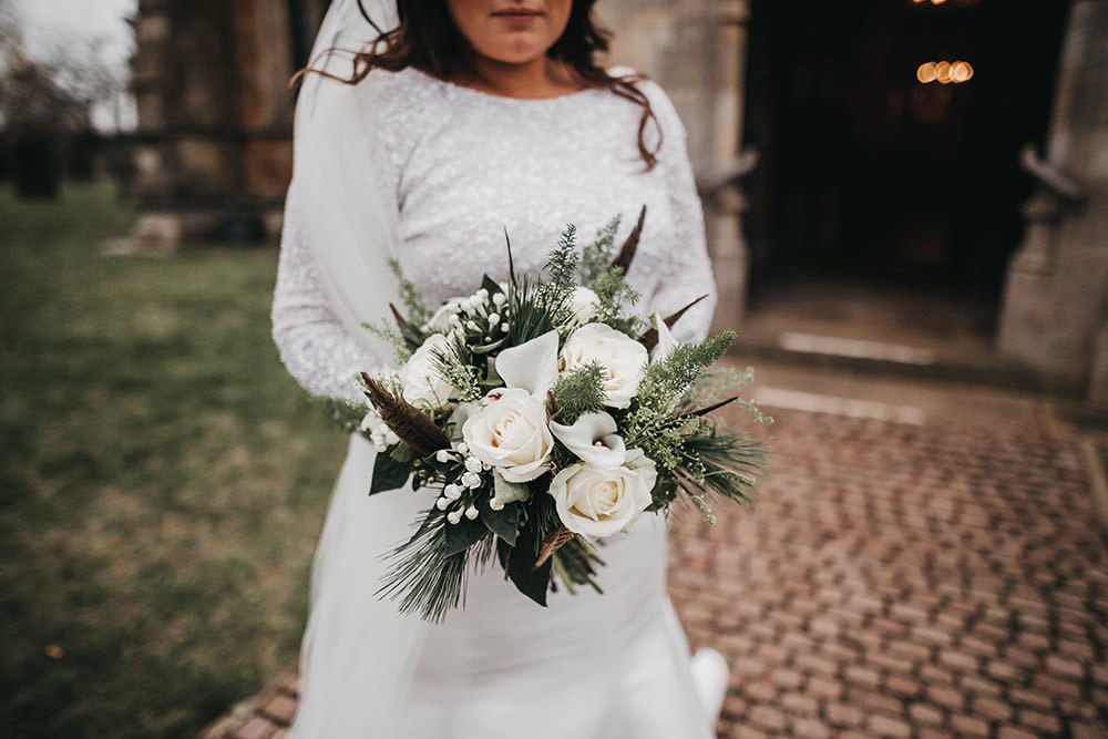 Bride Bridal Separates Sparkly Long Sleeve Fish Tail Button Back Veil White Greenery Bouquet Big Barn Wedding Ashley The Vedrines Photography