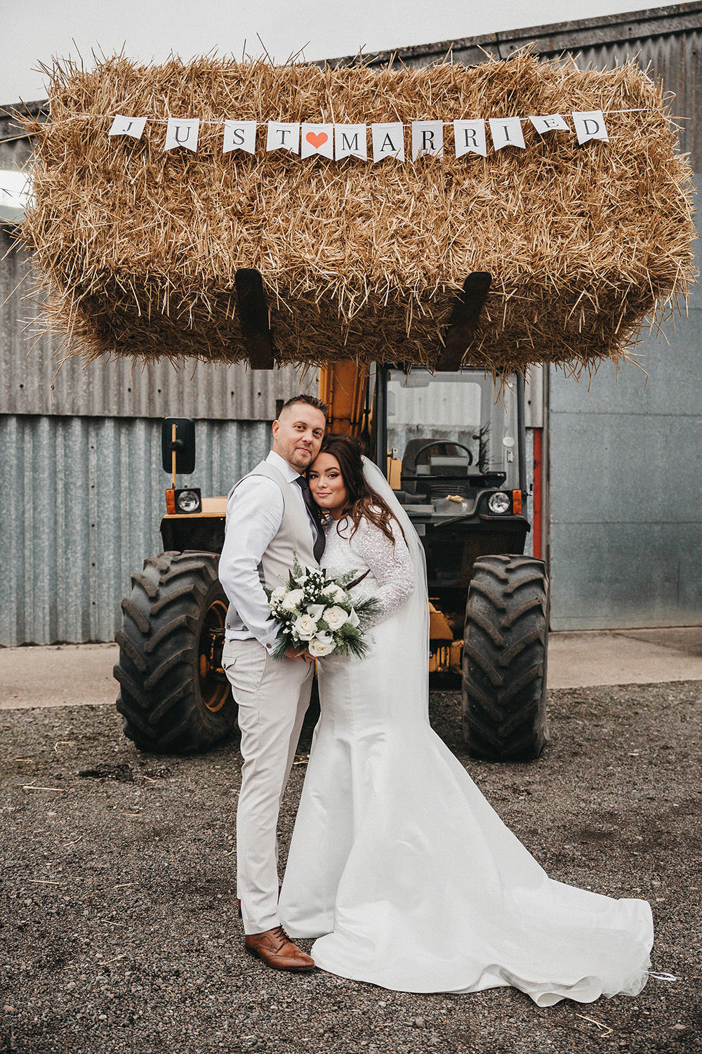 Bride Bridal Separates Sparkly Long Sleeve Fish Tail Button Back Groom Cream Waistcoat Suit Veil White Rose Snowdrops Bouquet Big Barn Wedding Ashley The Vedrines Photography