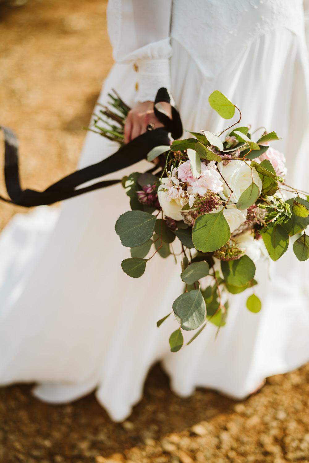 Bouquet Flowers Bride Bridal Black Ribbon Foliage Greenery Rose Berry Clifftop Portugal Wedding Ideas John Barwood Photography