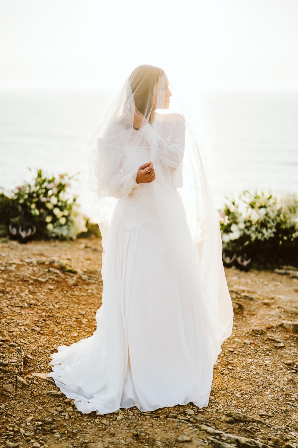 Bride Bridal Veil Long Clifftop Portugal Wedding Ideas John Barwood Photography