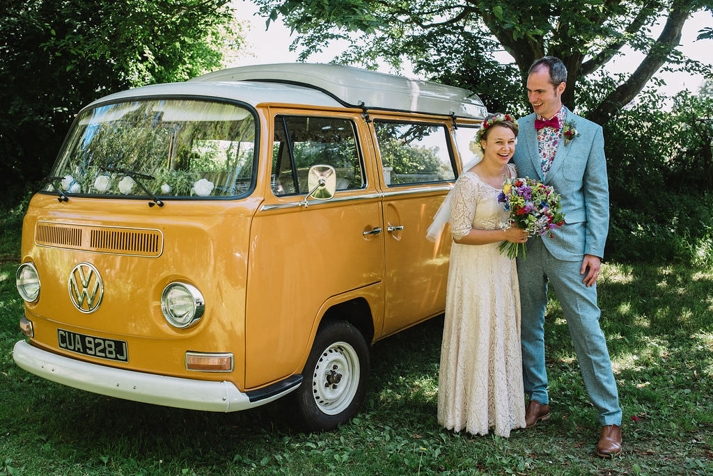Groom Blue Tweed Suit Floral Shirt Bow Tie VW Yellow Camper Van Mustard Eco Friendly Wedding The Stag and the Doe