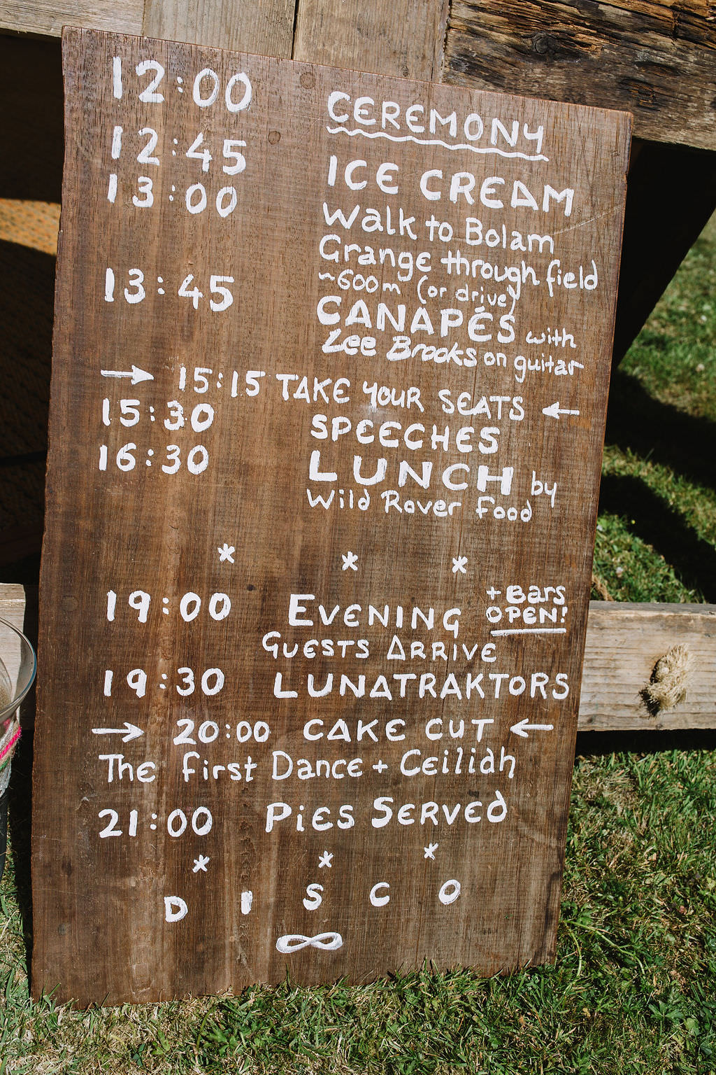 Wooden Sign Order Day Timings Eco Friendly Wedding The Stag and the Doe