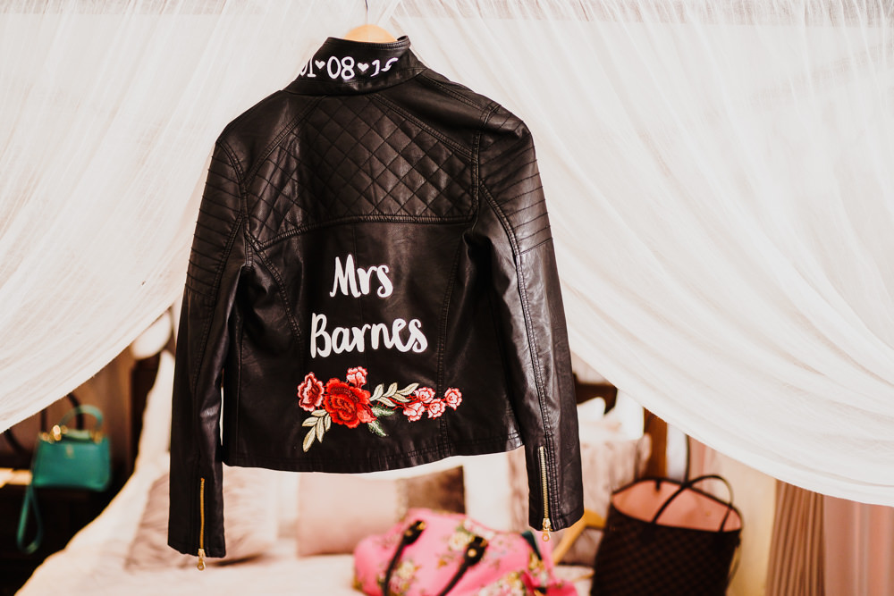 Painted Personalised Floral Leather Jacket Bride Bridal Godwick Hall Wedding Rob Dodsworth Photography