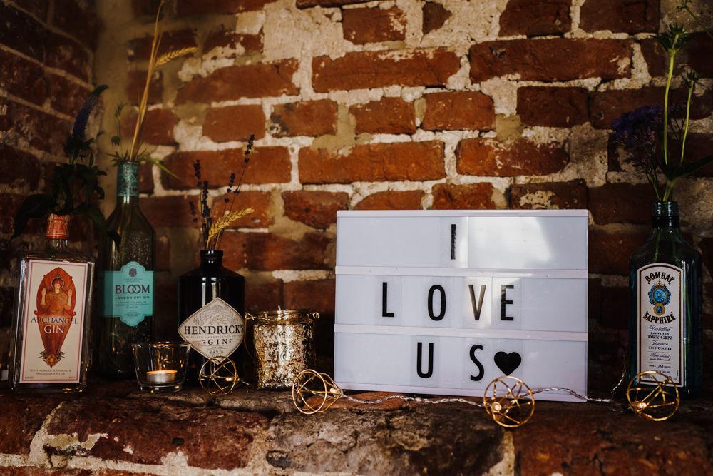 Love Quote Cinema Light Sign Godwick Hall Wedding Rob Dodsworth Photography