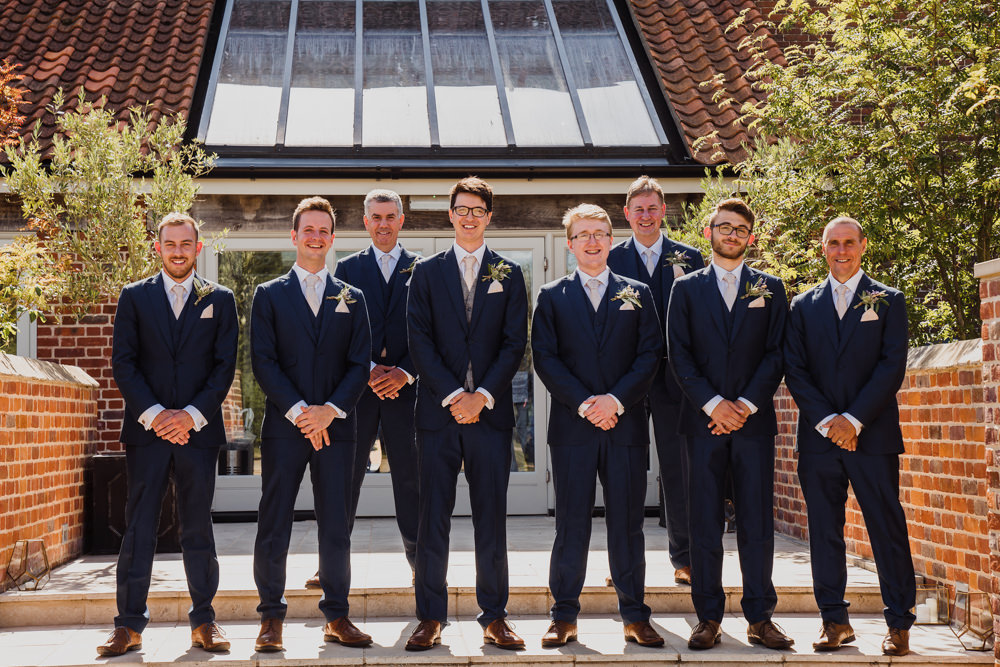 Groom Suit Groomsmen Blue Waistcoats Pink Tie Godwick Hall Wedding Rob Dodsworth Photography