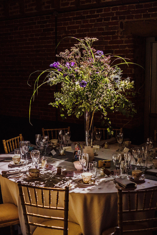 Table Centrepiece Flowers Decor Tall Wild Natural Greenery Godwick Hall Wedding Rob Dodsworth Photography