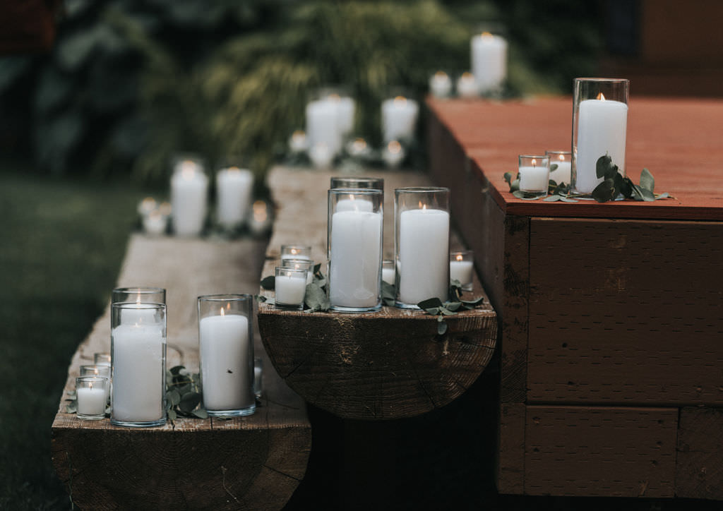 Aisle Ceremony Decor Candles Stage Greenhouse Garden Washington Wedding Beginning and End Photography