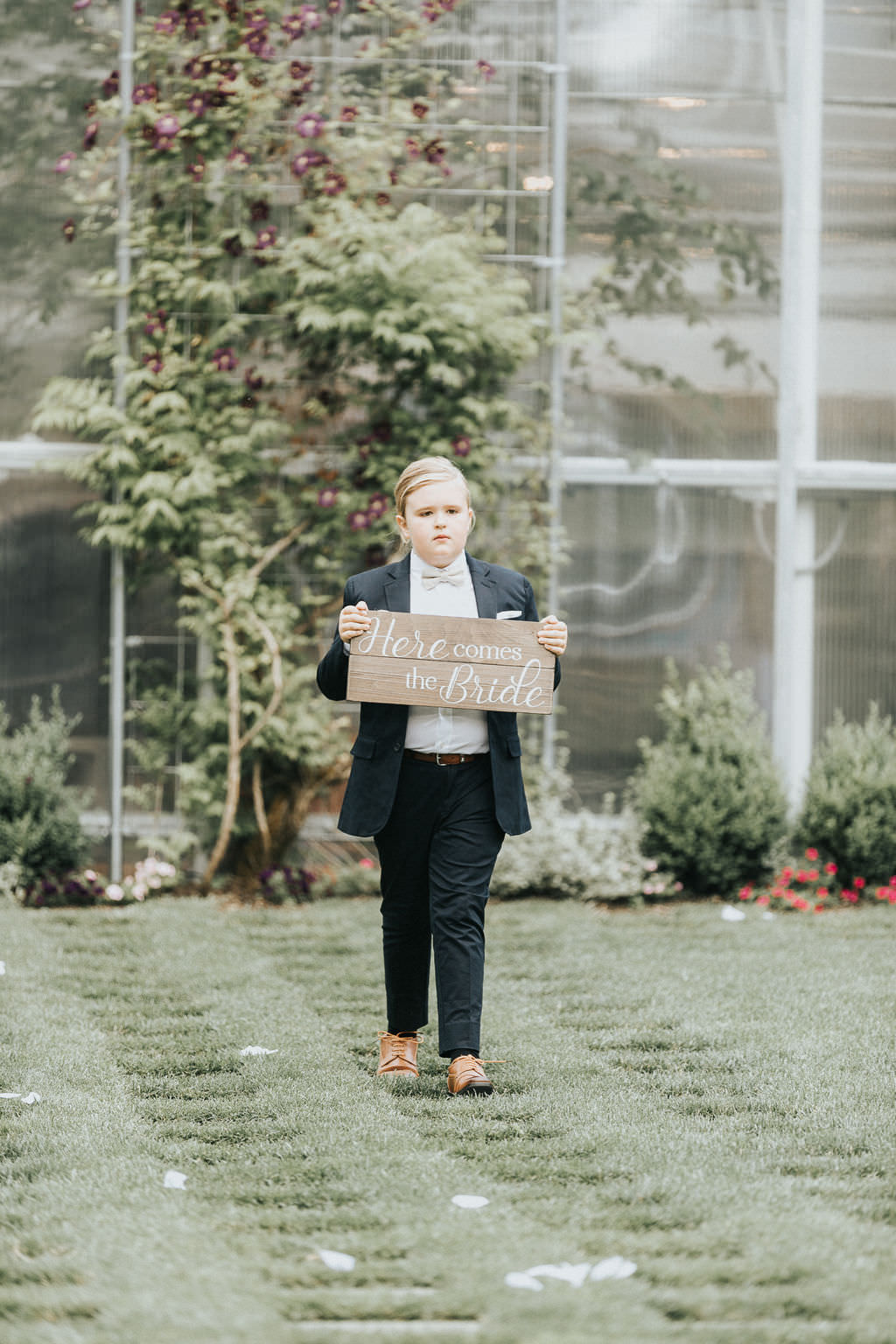 Page Boy Sign Aisle Greenhouse Garden Washington Wedding Beginning and End Photography