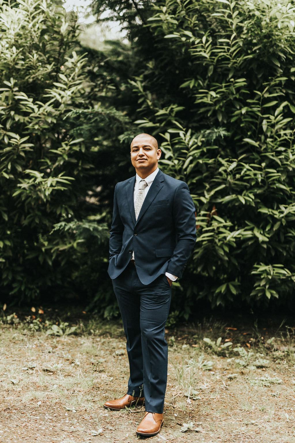 Groom Suit Navy Blue Greenhouse Garden Washington Wedding Beginning and End Photography
