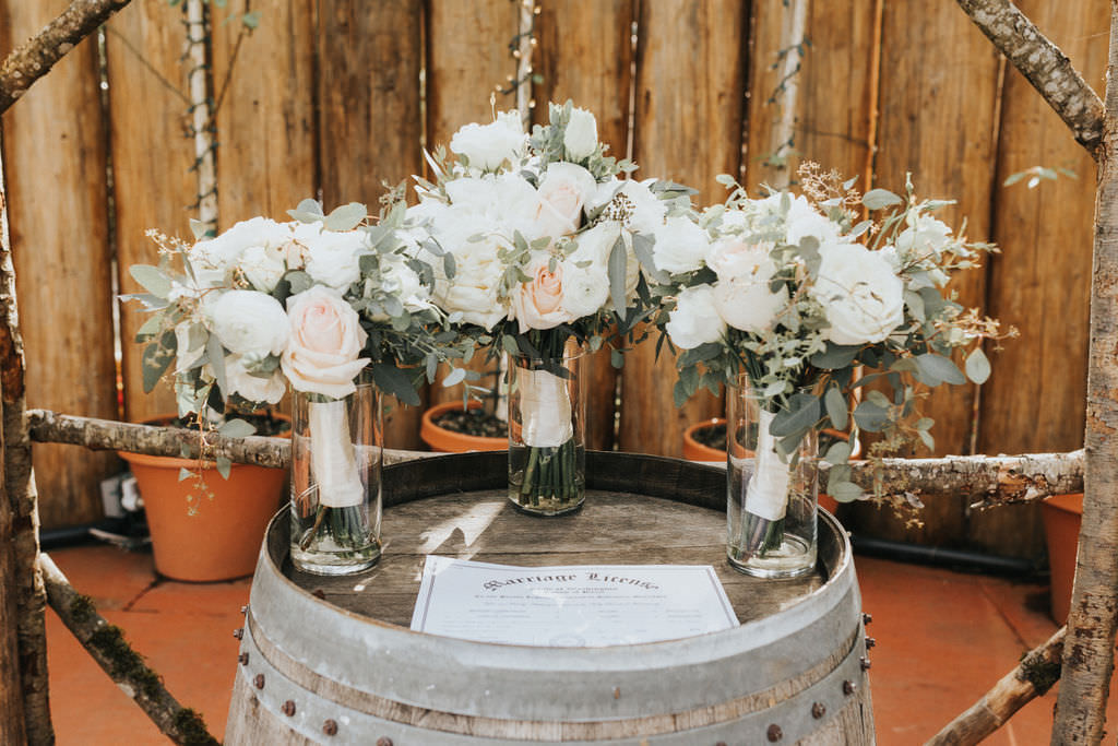 Bouquet Flowers Bride Bridal White Peony Peonies Rose Bridesmaids Greenhouse Garden Washington Wedding Beginning and End Photography