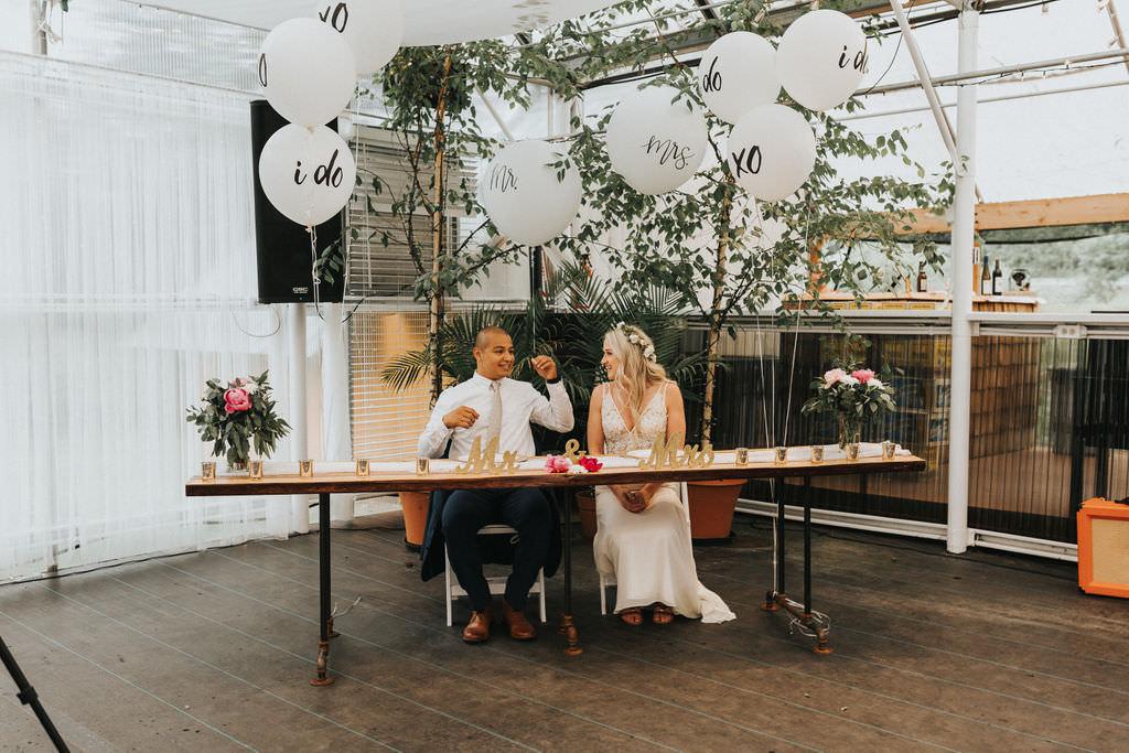 Sweetheart Table Trees Balloons Decor Greenhouse Garden Washington Wedding Beginning and End Photography