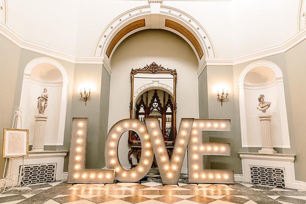 Love Light Up Letters Lartington Hall Wedding Hayley Baxter Photography