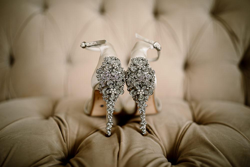 Embellished Heels Bridal Shoes Lartington Hall Wedding Hayley Baxter Photography