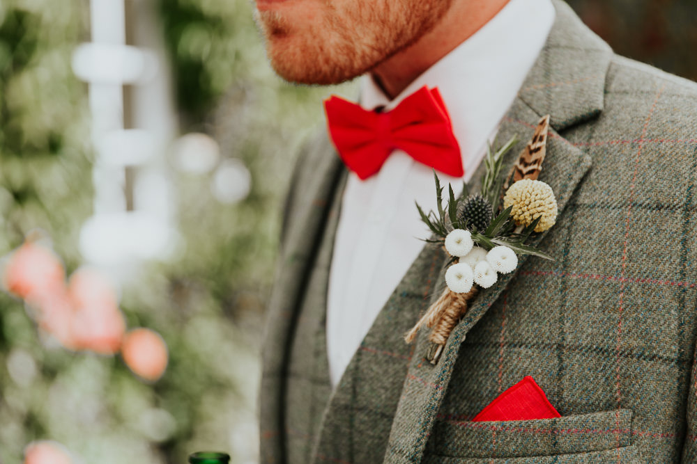 Groom Suit Red Pink Bow Tie Check Feather Thistle Twine Buttonhole Pennard House Wedding Oxi Photography