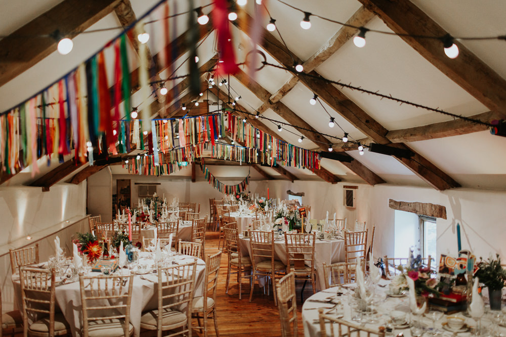 Barn Festoon Lights Colourful Rainbow Rag Bunting Ribbons Pennard House Wedding Oxi Photography