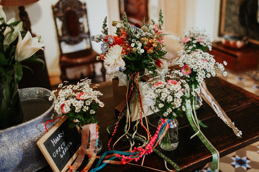 Bouquet Flowers Bride Bridal Colourful Ribbons Pennard House Wedding Oxi Photography