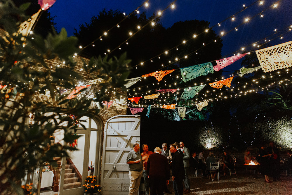 Dias De Los Muertos Bunting Fairy Lights Pennard House Wedding Oxi Photography