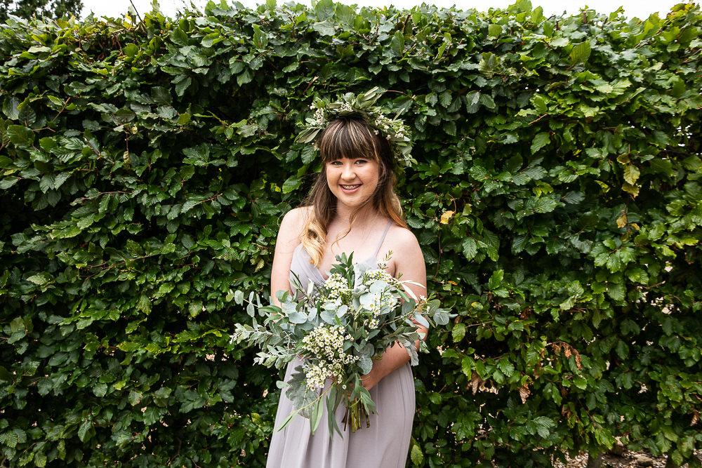 Bridesmaid Greenery Foliage Bouquet Flower Crown Rustic Botanical Barn Wedding Lorna Newman Photography