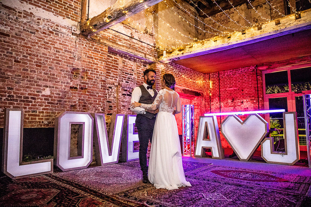 LOVE Letter Lights Rustic Botanical Barn Wedding Lorna Newman Photography