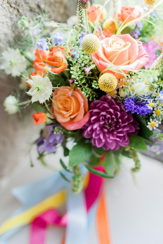 Bride Bridal Bouquet Flowers Rose Dahlia Spring Cottage Rivington Wedding Emma B Photography