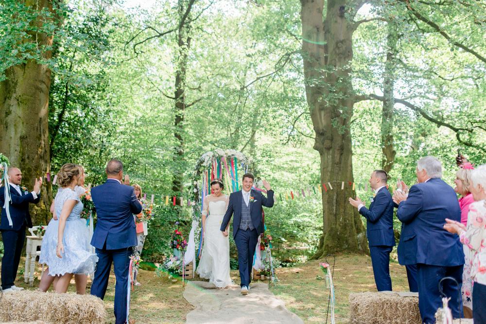 Bride Bridal Strapless Sweetheart Neckline Lace Jacket Sleeves Waistcoat Tweed Check Three Piece Suit Blue Multicoloured Ribbon Spring Cottage Rivington Wedding Emma B Photography