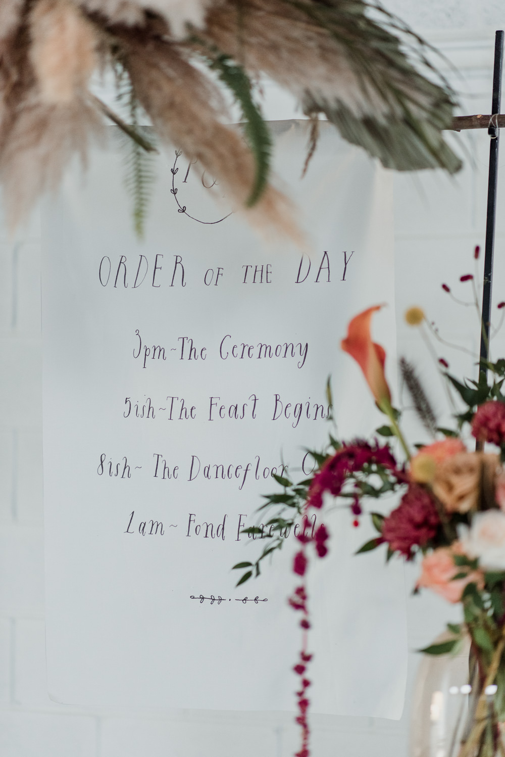 Fabric Banner Sign Signage Order of the Day Calligraphy 1970 Retro Mid Century Wedding Ideas Laura Martha Photography