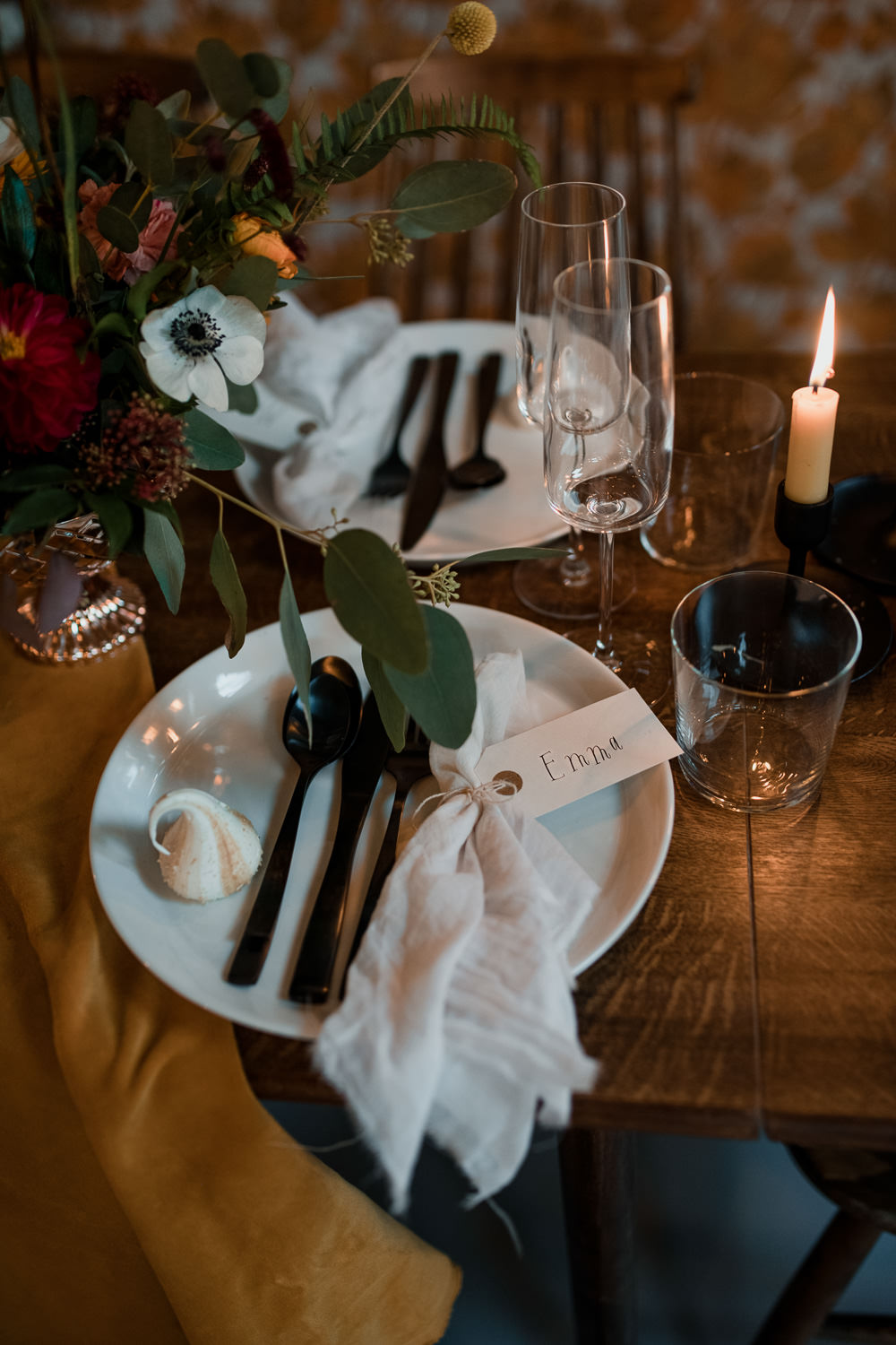 Place Setting Table Plates Napkin Place Card Calligraphy 1970 Retro Mid Century Wedding Ideas Laura Martha Photography