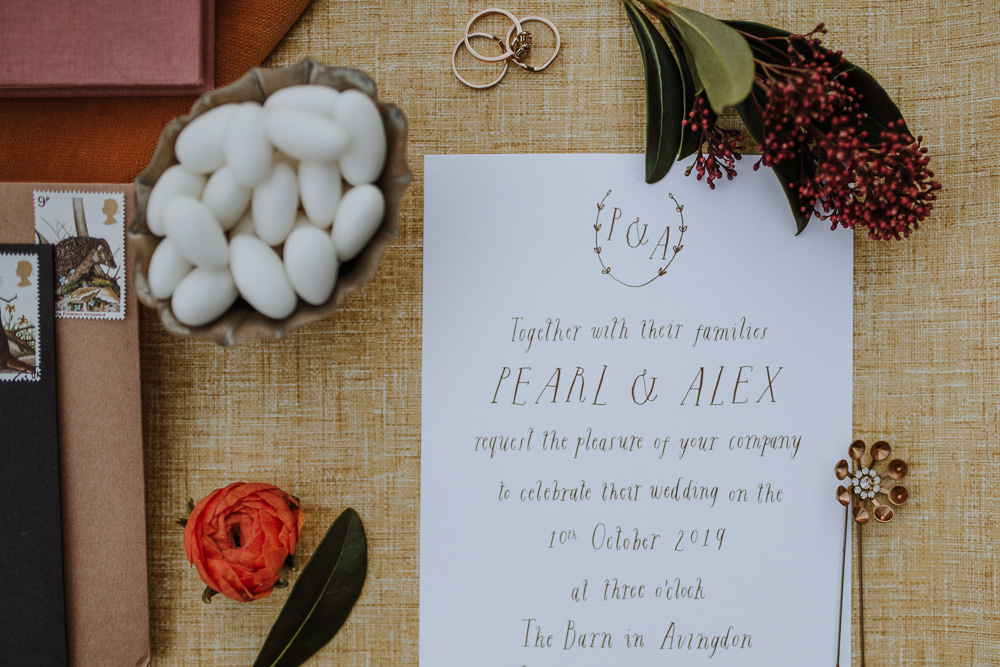 Stationery Invites Invitations Calligraphy Flat Lay Envelope 1970 Retro Mid Century Wedding Ideas Laura Martha Photography