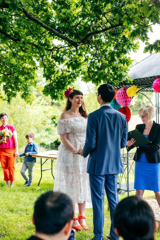 Dress Gown Bride Bridal Lace Floral Dip Hem Ash Barton Estate Wedding Jordanna Marston Photography