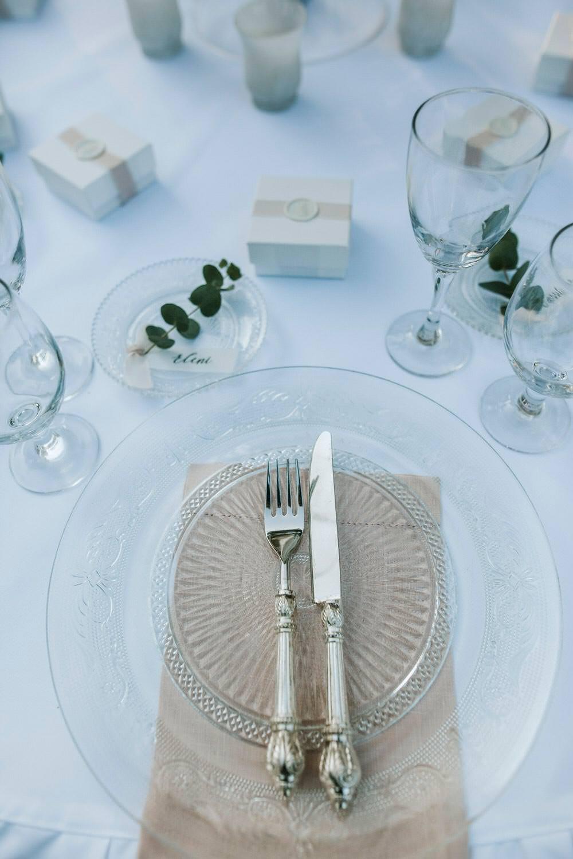 Glass Charger Plates Modern Setting Place Bohemian Beach Greece Destination Wedding Lighthouse Photography