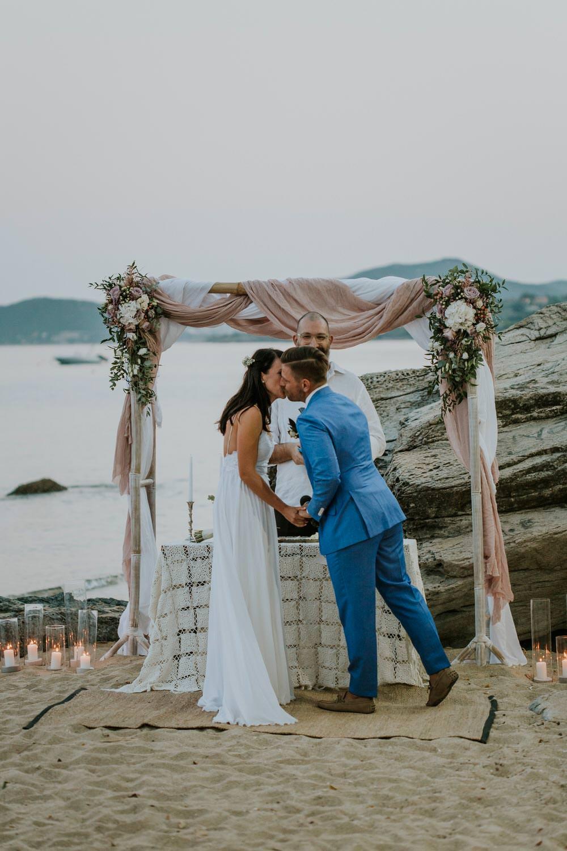 Ceremony Backdrop Aisle Fabric Flowers Arch Bohemian Beach Greece Destination Wedding Lighthouse Photography