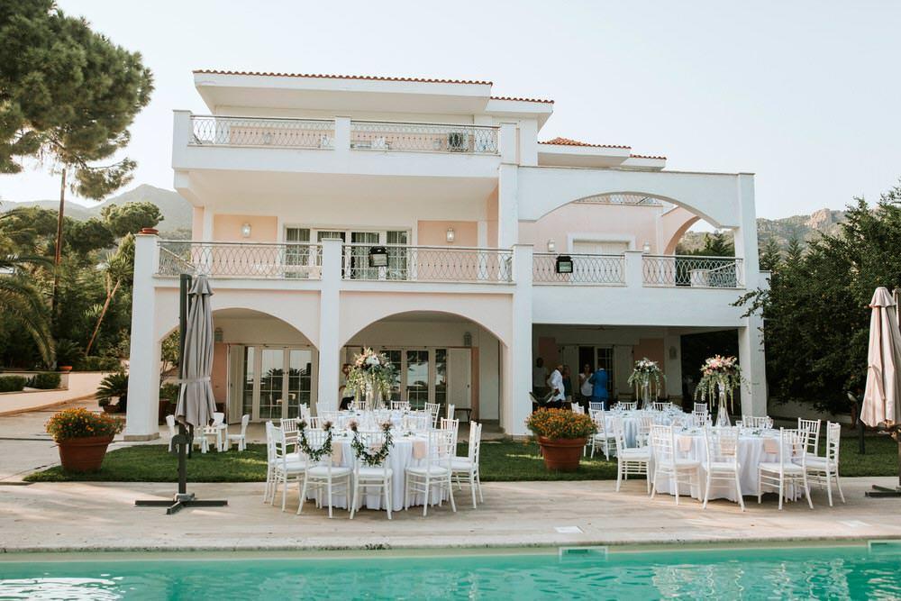 Villa Pool Reception Outdoor Bohemian Beach Greece Destination Wedding Lighthouse Photography