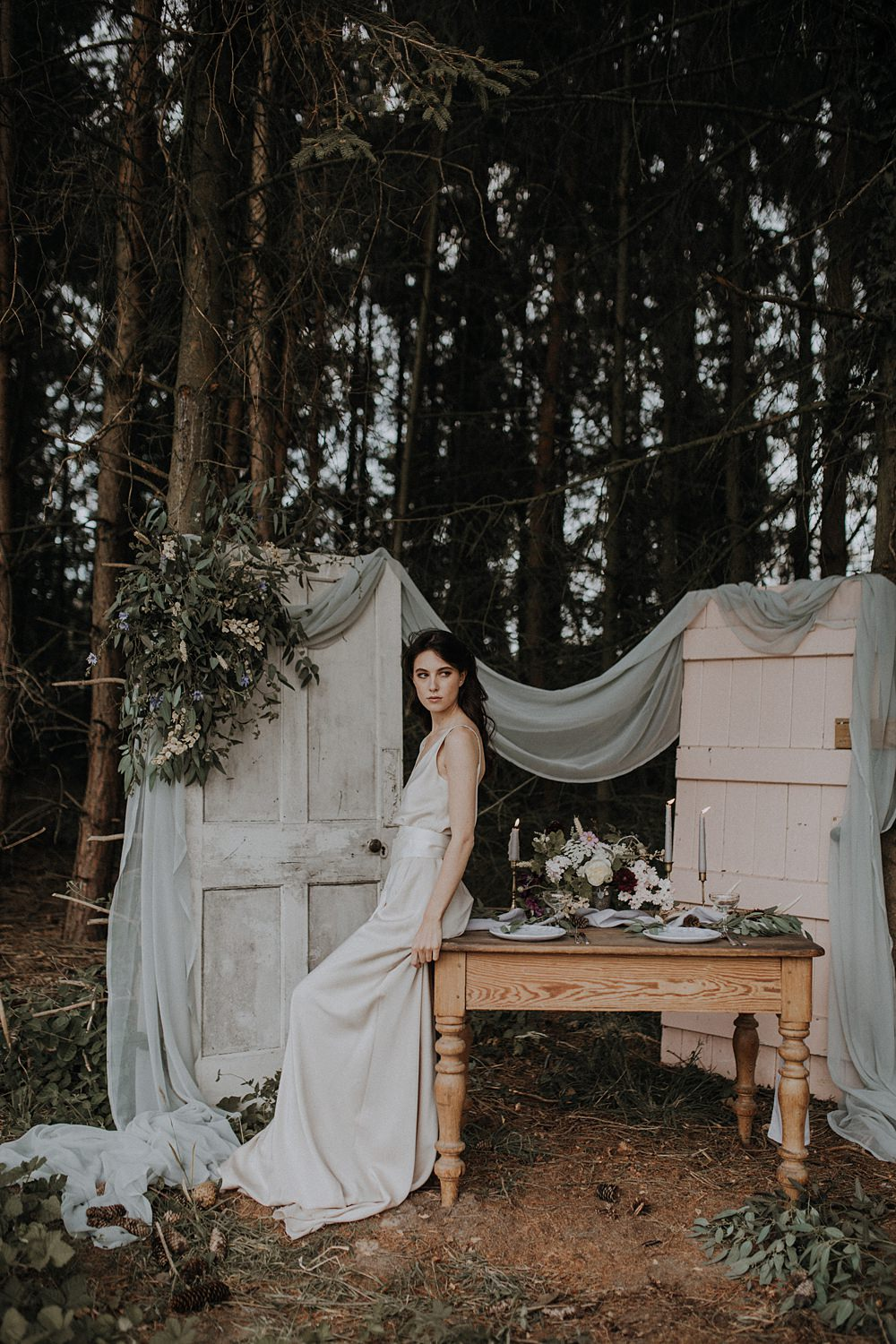 Table Tablescape Outdoors Grey Fabric Greenery Foliage Doors Antique Decor Backdrop Bohemian Woodland Wedding Ideas Lola Rose Photography