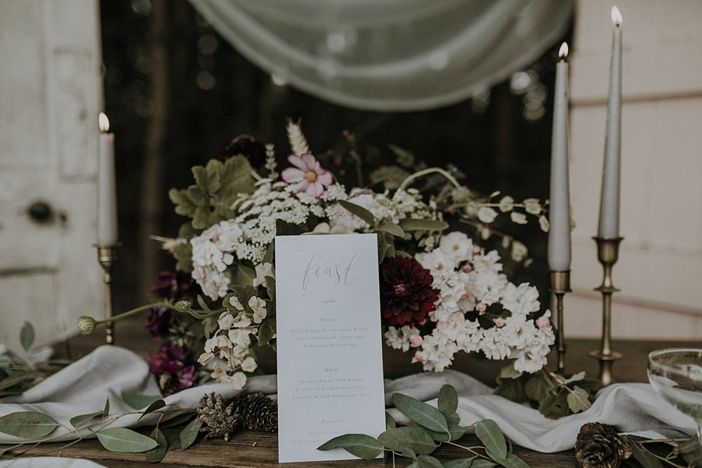 Table Flowers Tablescape Wild Natural Arrangement Bohemian Woodland Wedding Ideas Lola Rose Photography
