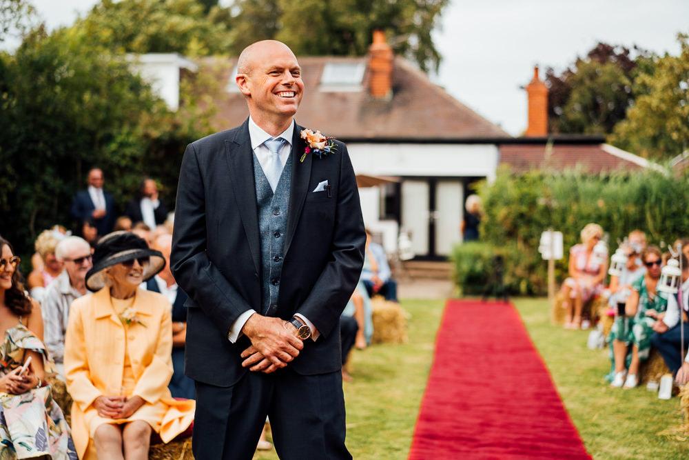 Navy Blue Three Piece Waistcoat Suit Groom Colourful Tipi Garden Wedding Fairclough Studios