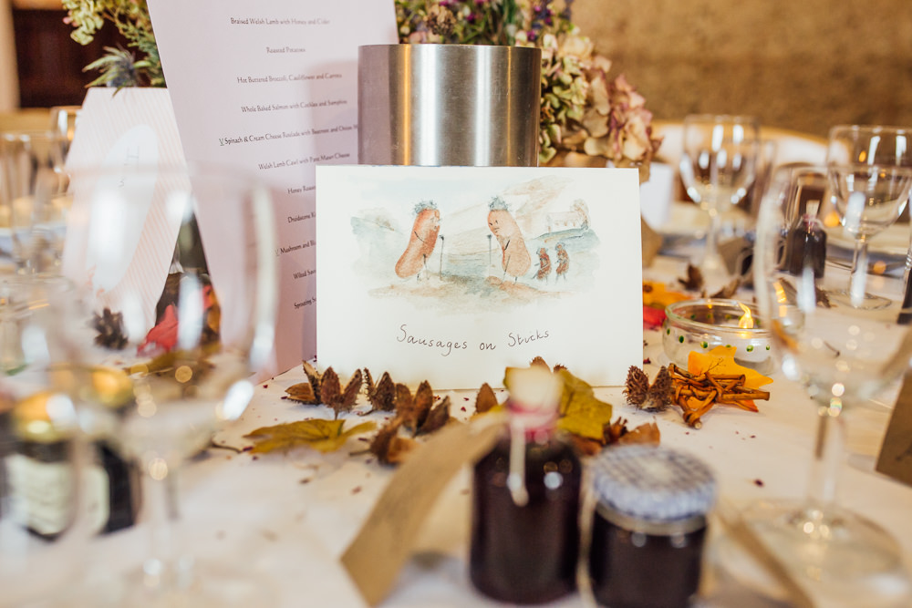 Illustrated Table Names Druidstone Wedding Florence Fox Photography