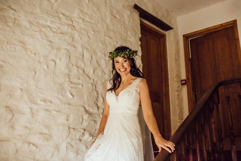 Flower Crown Bride Bridal Dress Gown Charlotte Balbier Lace Straps Druidstone Wedding Florence Fox Photography