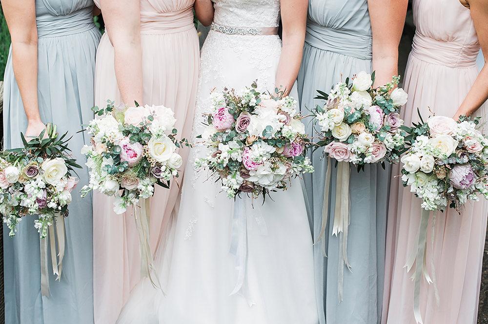 Bride Bridal Bridesmaids Bouquet White Pink Ribbon Edmondsham House Wedding Darima Frampton Photography