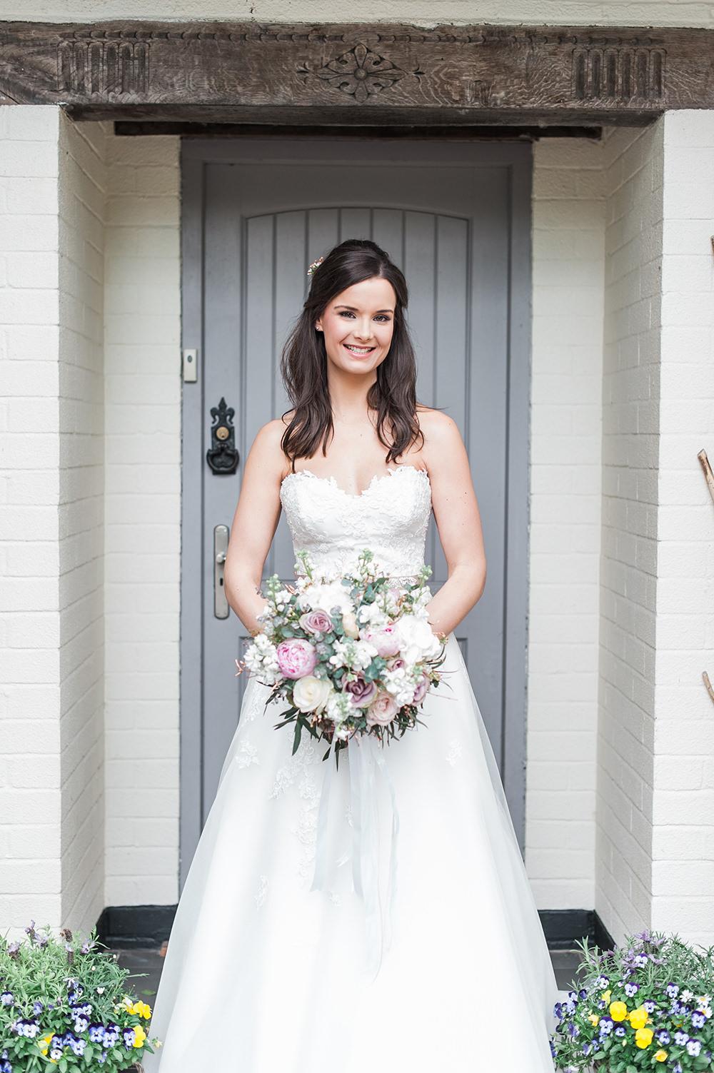 Bride Bridal Gown Dress Strapless Sweetheart Neckline Ribbon Belt Pink Rose Peony Bouquet Edmondsham House Wedding Darima Frampton Photography