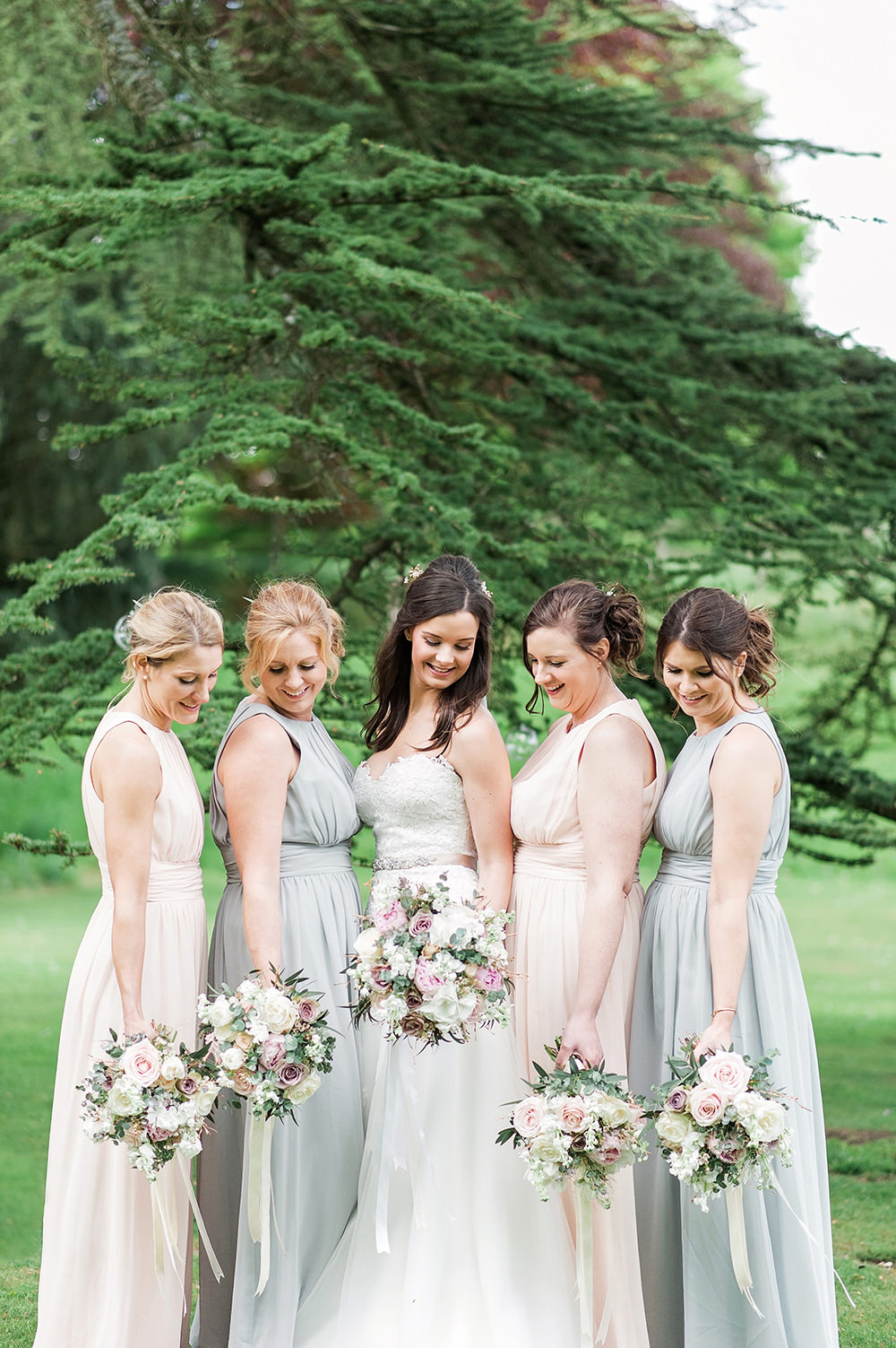 Bride Bridal Gown Dress Strapless Sweetheart Neckline Ribbon Belt Pink Mismatched Pastel Bridesmaids Edmondsham House Wedding Darima Frampton Photography