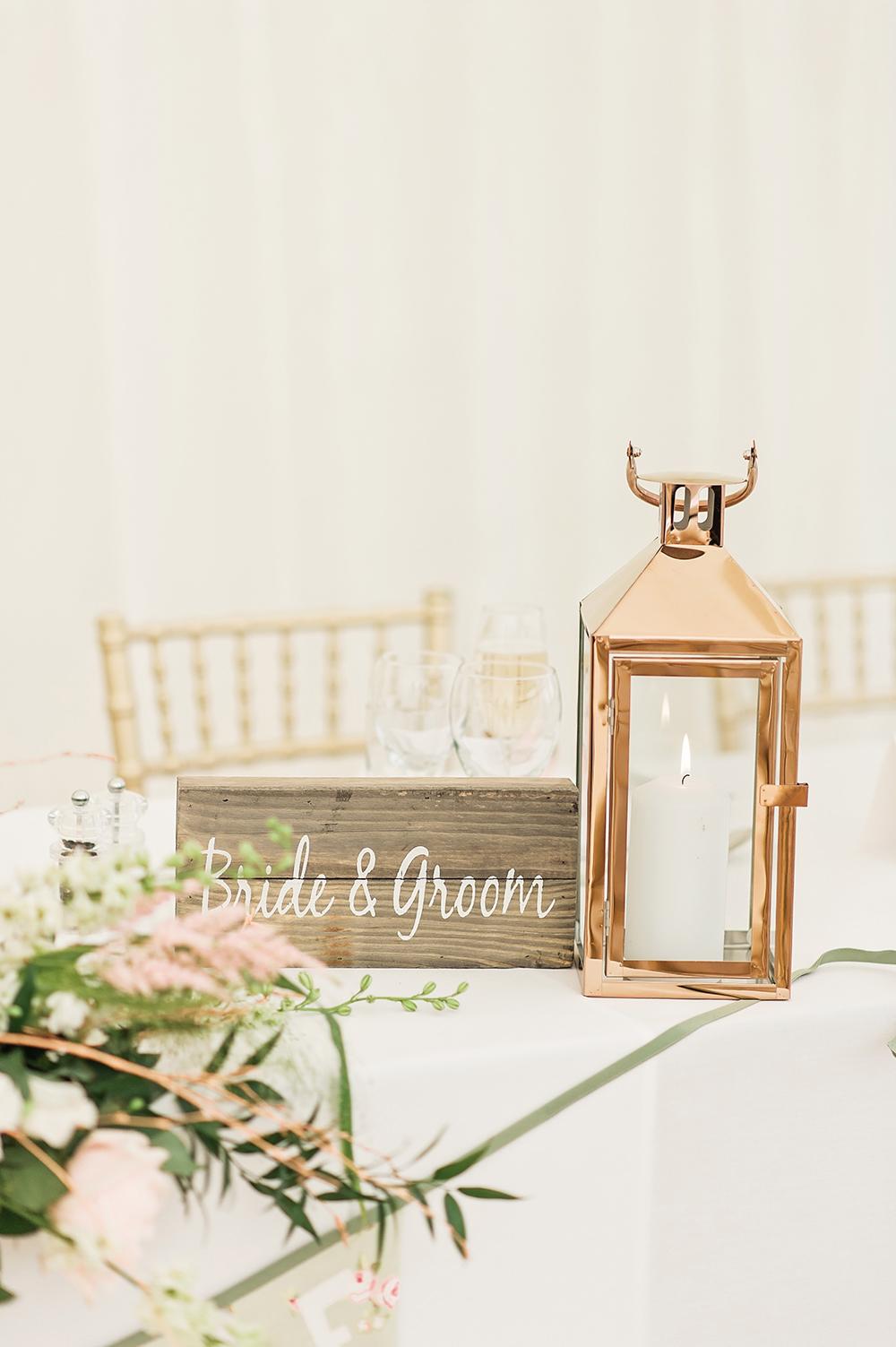 Bride & Groom Sign Wooden Sign Storm Lantern Edmondsham House Wedding Darima Frampton Photography